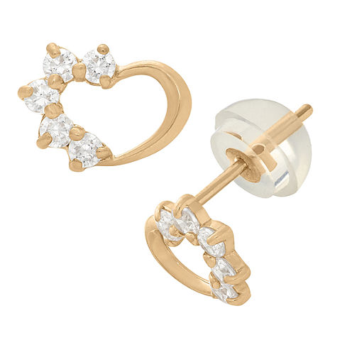 Heart-Shaped 1/5 CT. T.W. Round White Cubic Zirconia 14K Gold Stud Earrings