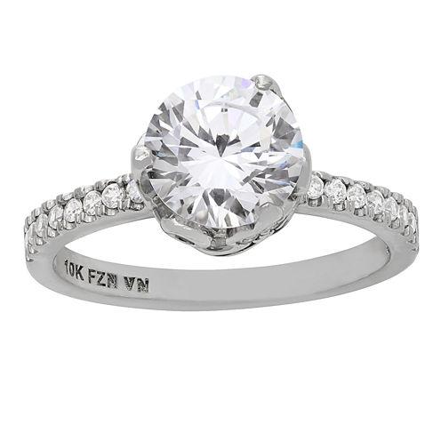 Diamonart Womens 3 1/2 CT. T.W. Lab Created Round White Cubic Zirconia 10K Gold Engagement Ring