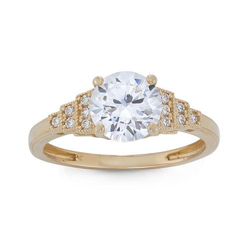 Diamonart Womens 1 7/8 CT. T.W. Lab Created Round White Cubic Zirconia 10K Gold Engagement Ring