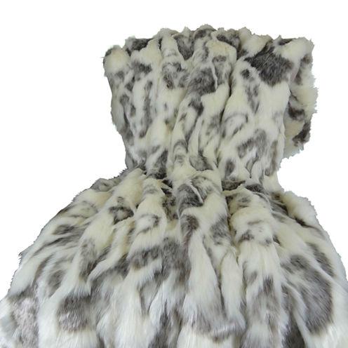 Plutus Ivory Rabbit Fur Handmade Throw