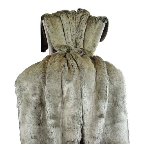 Plutus Tissavel Gray Faux Fur Handmade Throw Blanket