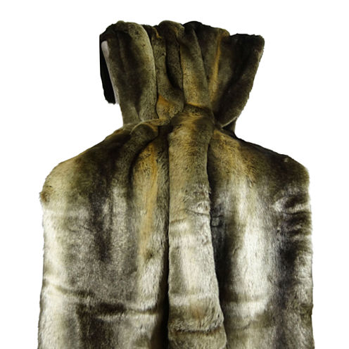 Plutus Tissavel Volga Rabbit Faux Fur Handmade Throw Blanket