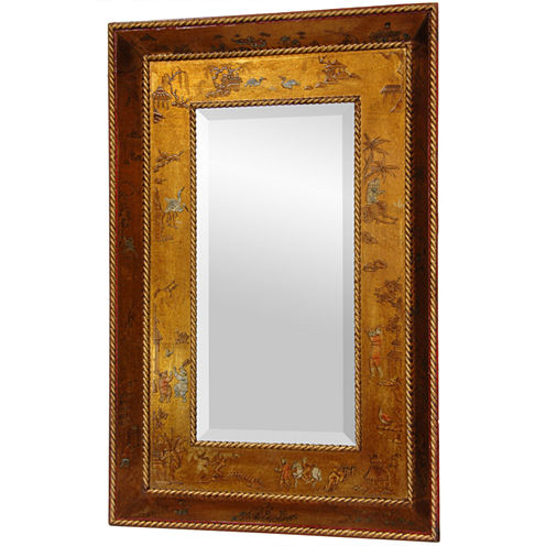 Oriental Furniture Hand-Painted Chinoiserie Style Wall Mirror