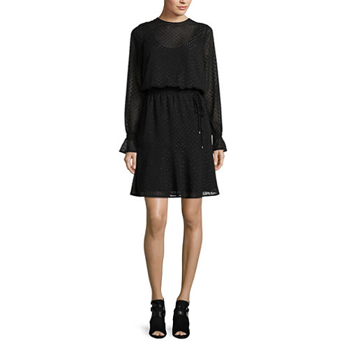 Libby Edelman Long Sleeve Clipdot Dress