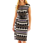 Worthington® Faux-Leather Trim Dress - Plus