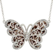 Sterling Silver Two-Tone Crystal Butterfly Pendant Necklace