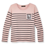 Sally M™ Sally Miller Sequin-Pocket Striped Tee - Girls 6-16