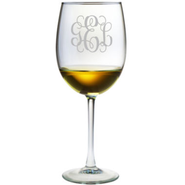 jcpenney.com | 3 Letter Interlock Monogrammed Wine Glasses