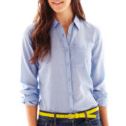 jcp™ Print Button-Front Long-Sleeve Shirt