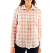 Liz Claiborne Long-Sleeve Button-Front Plaid Shirt