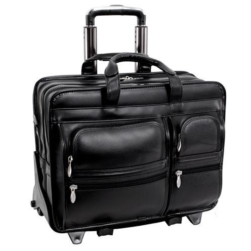 "McKleinUSA Clinton 17"" Leather Detachable -Wheeled Laptop Briefcase"