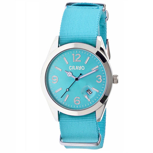 Crayo Women's Sunrise Turquoise Nylon-Band Watch with Date  Cracr1706