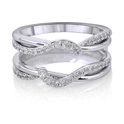Womens 3/8 CT. T.W. White Diamond 14K Gold Ring Enhancer