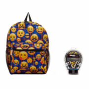 Emoji Blue Plaid Backpack with Headphones