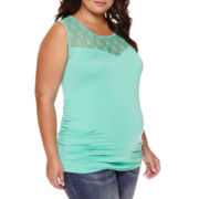 Maternity Garment Dye Lace Tank Top - Plus