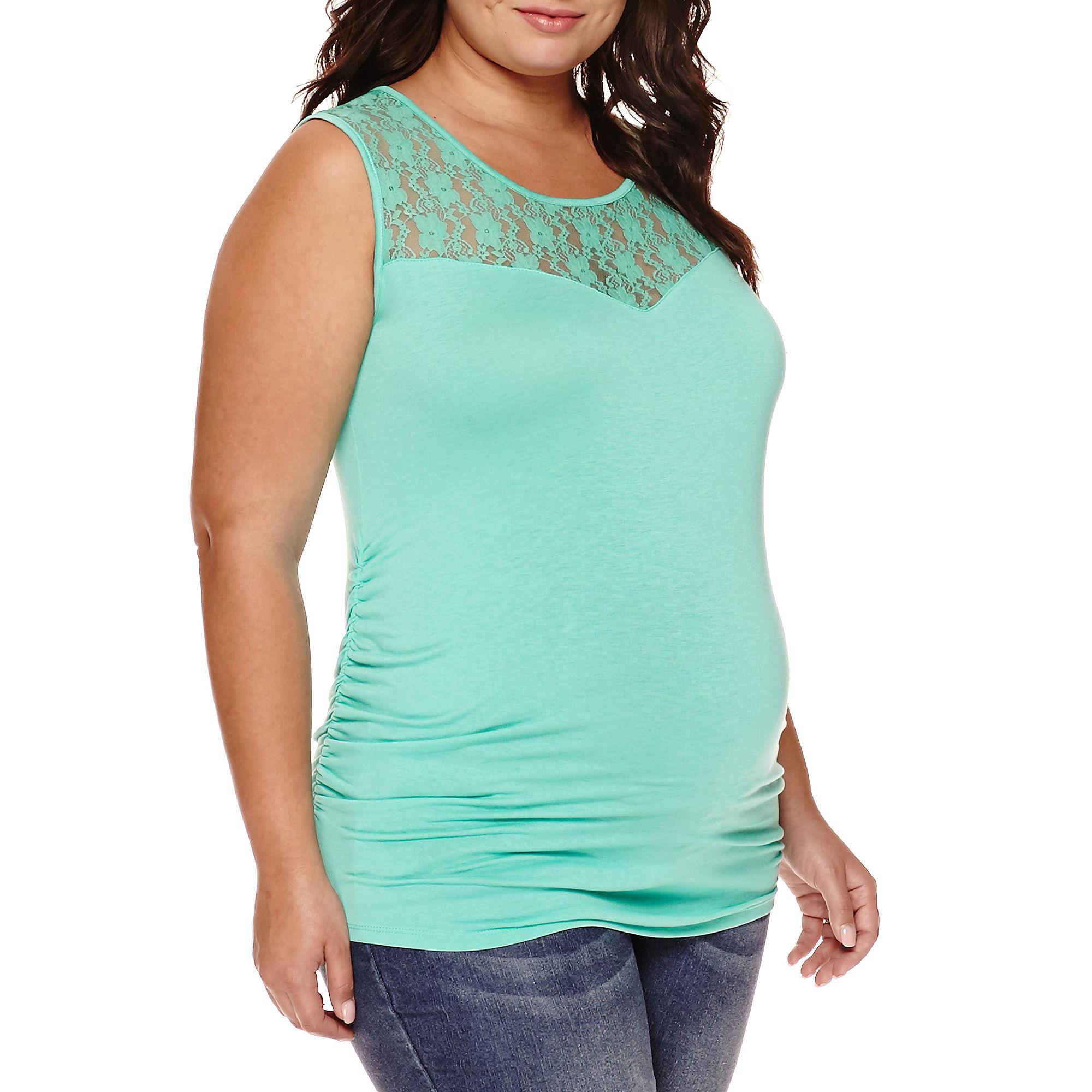 Maternity Garment Dye Lace Tank Top - Plus plus size,  plus size fashion plus size appare