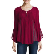 Trixxi® 3/4-Sleeve Lace Peasant Top