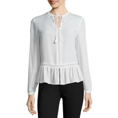 jcpenney.com | a.n.a® Long-Sleeve Peplum Blouse