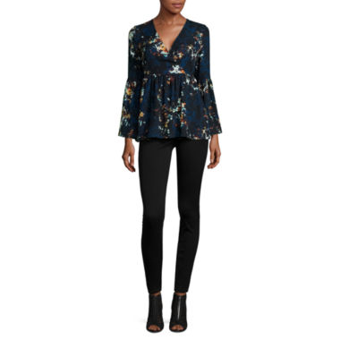 jcpenney.com | a.n.a® Bell-Sleeve Wrap-Front Ruffle Blouse or Skinny Jeggings
