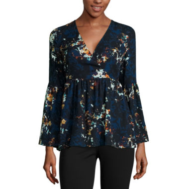 jcpenney.com | a.n.a® Bell-Sleeve Wrap-Front Ruffle Blouse