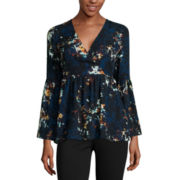 a.n.a® Bell-Sleeve Wrap-Front Ruffle Blouse