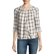 a.n.a® Tab-Sleeve Wrap-Front Blouse - Tall