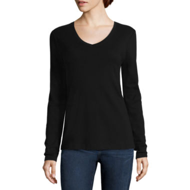 jcpenney.com | St. John's Bay® Long-Sleeve V-Neck Tee - Tall