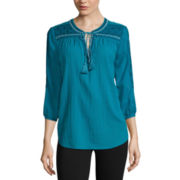 St. John's Bay® Embroidered Tie-Front Blouse