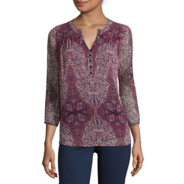 jcpenney.com | St. John's Bay® 3/4-Sleeve Printed Blouse