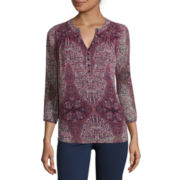 St. John's Bay® 3/4-Sleeve Printed Blouse