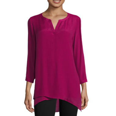 jcpenney.com | St. John's Bay® Long-Sleeve Crossover Print Tunic - Tall