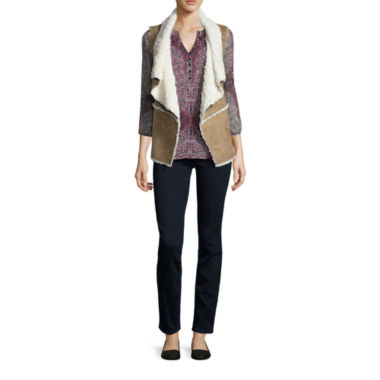 jcpenney.com | St. John's Bay® Sherpa Vest, Printed Blouse or Pull-On Jeggings
