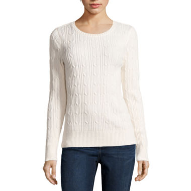 jcpenney.com | St. John's Bay® Long-Sleeve Cable-Knit Sweater - Tall