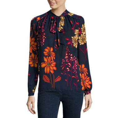 jcpenney.com | Stylus™ Long-Sleeve Bow Blouse - Tall