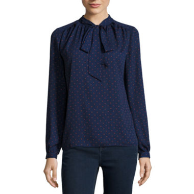 jcpenney.com | Stylus™ Long-Sleeve Bow Blouse