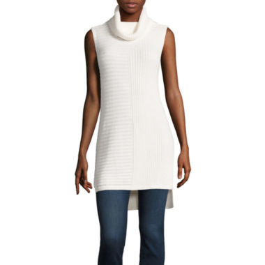 jcpenney.com | Stylus™ Sleeveless Turtleneck Mixed-Rib Tunic Top - Tall