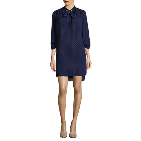 Stylus™ Long-Sleeve Tie-Front V-Neck Dress - Tall