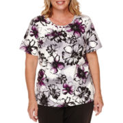 Alfred Dunner® Short-Sleeve Patchwork Flower-Print Tee - Plus