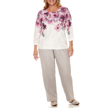 jcpenney.com | Alfred Dunner® Veneto Valley 3/4-Sleeve Floral Yoke Top or Short Pants - Plus