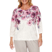 Alfred Dunner® Veneto Valley 3/4-Sleeve Watercolor Floral Yoke Top - Plus