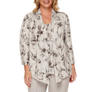 Alfred Dunner® Veneto Valley Floral Open-Front Mélange Necklace Top - Plus