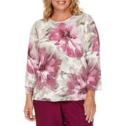Alfred Dunner® Veneto Valley 3/4-Sleeve Floral Shimmer Sweater - Plus