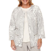 Alfred Dunner® Veneto Valley 3/4-Sleeve Patchwork Jacquard Jacket - Plus