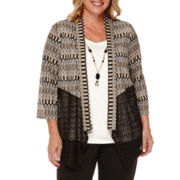 Alfred Dunner® Madison Park Spliced Flame-Stitch Layered Top - Plus