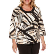 Alfred Dunner® 3/4-Sleeve Patchwork Spliced Top - Plus