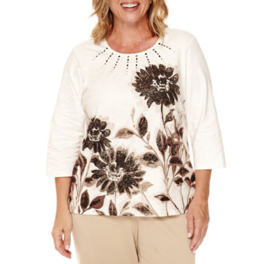 jcpenney.com | Alfred Dunner® 3/4-Sleeve Placed Floral Top - Plus