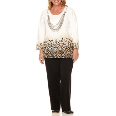 jcpenney.com | Alfred Dunner® Madison Park 3/4-Sleeve Sweater with Necklace or Pants - Plus