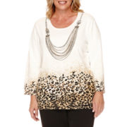 Alfred Dunner® Madison Park 3/4-Sleeve Sweater with Necklace - Plus