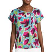 Liz Claiborne® Short-Sleeve Asymmetrical Knot Blouse