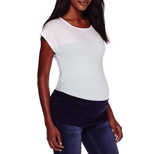 Maternity Short-Sleeve Colorblock Shirt - Plus